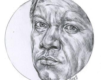 Miniature pencil drawing Clint Barton