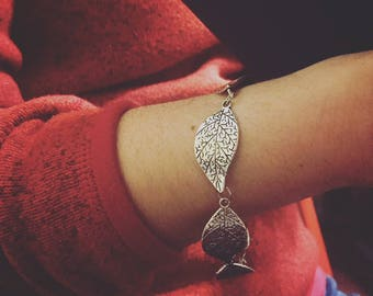Leaf Bracelet, Silver Plated Leaf Chain Bracelet