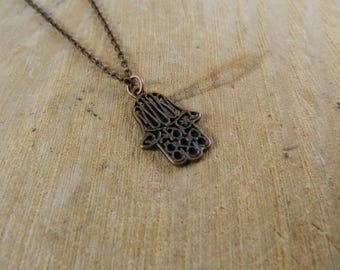 Copper Hamsa Hand Necklace | Filigree Hamsa Charm Necklace
