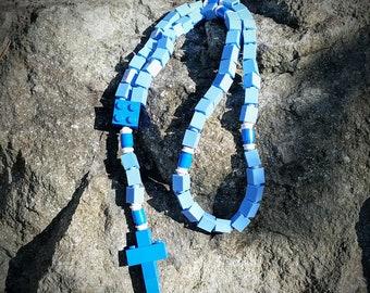 The Original Mementomoose Rosary Made with Lego Bricks - Blue Catholic Rosary - Our Lady