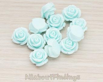 CBC141-01-LB // Light Blue Colored Curved Petal Rose Flower Flat Back Cabochon, 6 Pc
