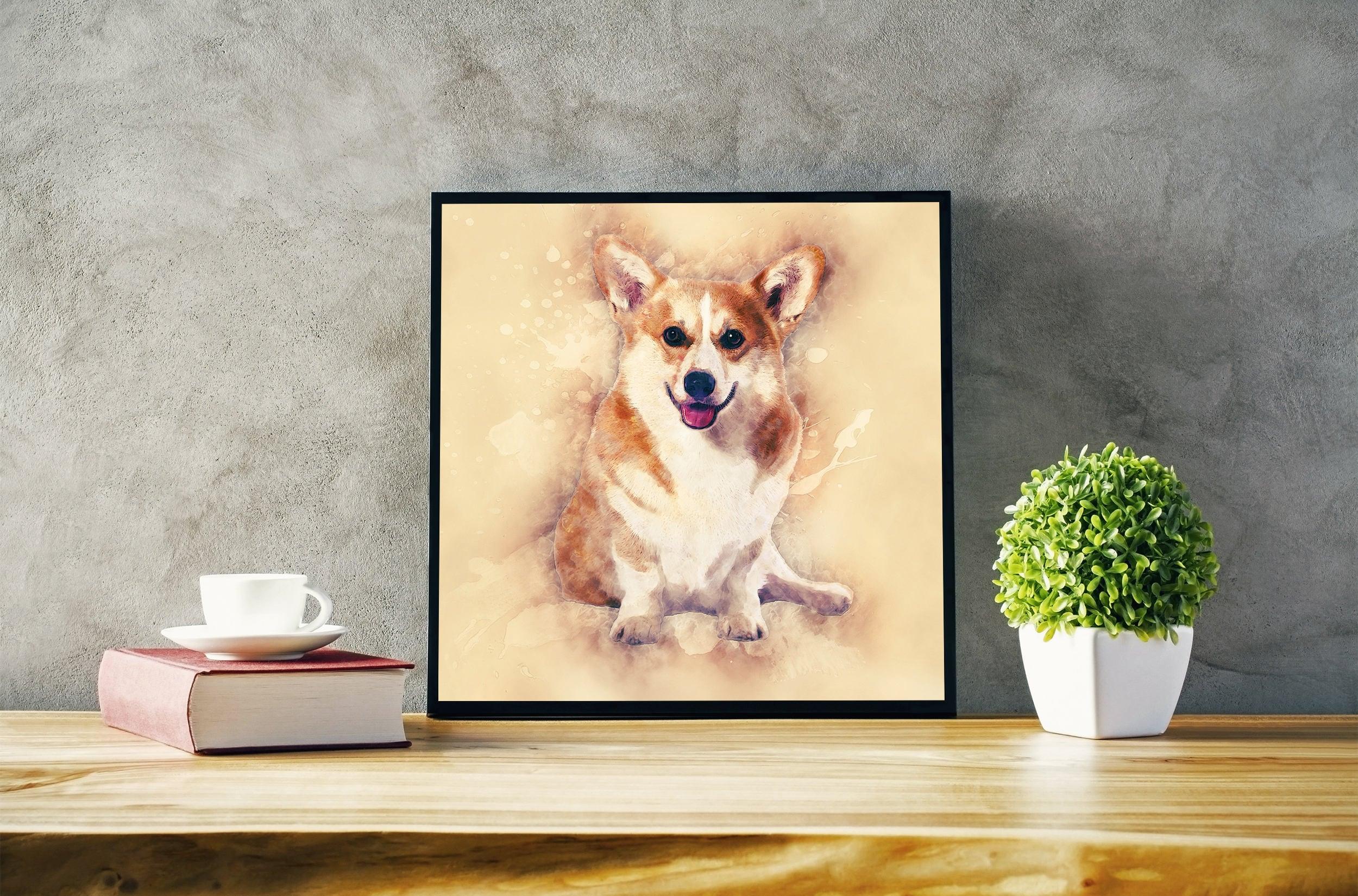 Corgi Portrait Square Dog Wall Art Corgi Pastel Art Painting