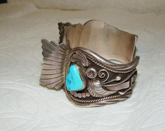 NA 3-I Sterling & Turquoise NA Watch Bracelet