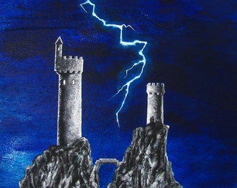 "11x14 giclee print, ""Mt. Crowley"", art by SVogelArt, castle, lightning, fantasy, night sky, light, glow, hill, mythical, blue sky"