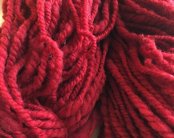 Oxblood Red Hand Spun 2 ply yarn