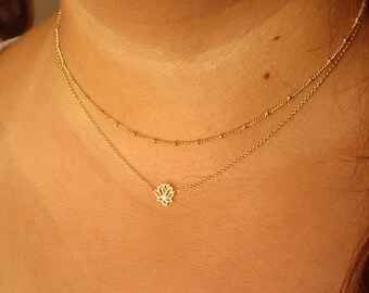 Dainty Necklaces - 14K Gold Filled Layering Necklace - multi strand necklace - gift for her - lotus necklace - satellite chain necklace