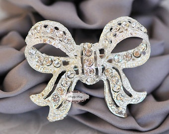 Rhinestone Brooch Embellishment - Flatback - Rhinestone Bow - Brooch Bouquet - Supply - Broach - RD288