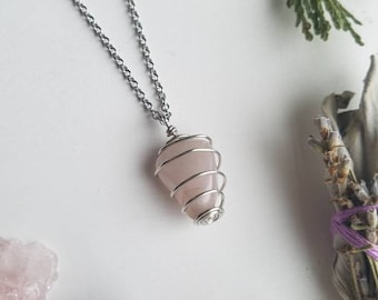 Rose Quartz Necklace - Love Necklace - Love Jewelry - Gift For Her - Wire Wrapped Quartz Necklace - Stainless Steel Chain Necklace - Quartz