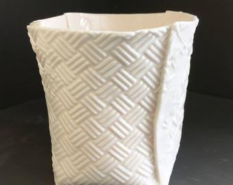 Porcelain Pot - Patterned Slab Work - Textured Clay