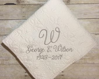 Wedding blanket, Memorial gift, Sympathy gift, Monogrammed throw, personalized throw, Anniversary gift, wedding gift, Shower gift, Retiremen