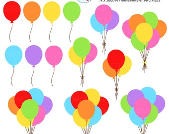 Rainbow Party Balloons Clipart Set - clip art set of balloons, party, rainbow - personal use, small commercial use, instant download