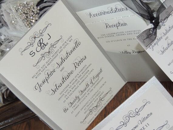 Silver Pocket Invitation - Monogram Wedding Invitation - Swirl Set