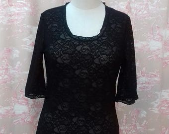 Black stretch lace fitted bispoke t-shirt with above elbow sleeves.
