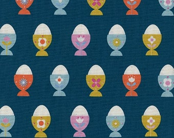 Egg Cups Navy from Welsummer by Kim Kight for Cotton + Steel - 1/2 Yard