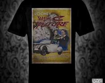 Back To The Future vintage style movie poster T-shirt, sci-fi retro classic film scifi delorean time travel