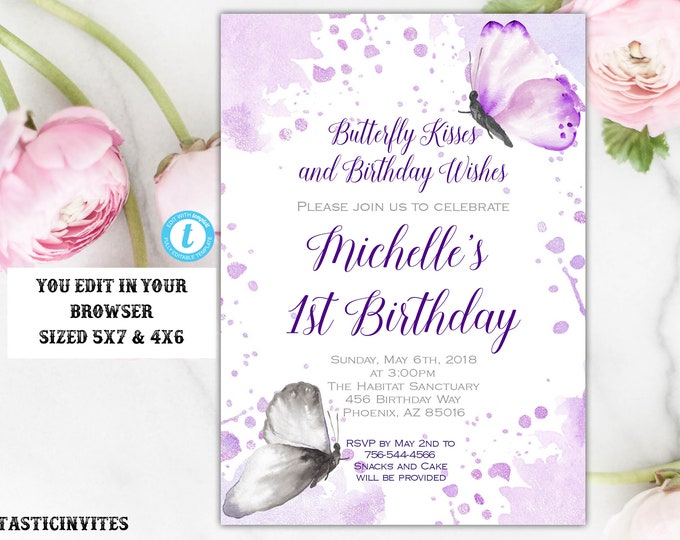 Butterfly Birthday Invitation Template, Instant Download, Editable, DIY Printable, Butterfly, Birthday Invite Template, Butterflies, Purple