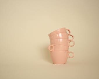 midcentury melamine pink cups/ texas ware/ set of 5