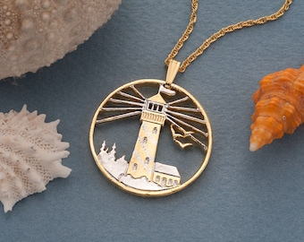 """Lighthouse Pendant and Necklace Jewelry, Lighhouse medallion Hand Cut, 14 Karat Gold and Rhodium Plated, 1 1/8 """" in Diameter, ( # 759 )"""
