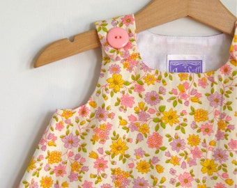 Floral Vintage Print Baby Dress, Girls Dress, Girls Sundress, Newborn Dress, Pinafore, Birthday Dress, Pink Size Newborn to 18-24 Months