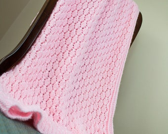 Hand Knit Pink Baby Blanket - Baby Afghan