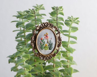 Cactus Study No. 5- hand embroidered necklace, desert, succulent, cacti