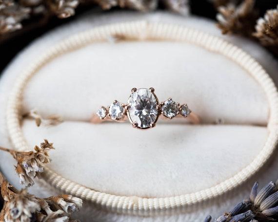 Oval moissanite cluster 14k gold engagement ring, oval round stone cluster ring, moissanite gold engagement ring, unique engagement ring
