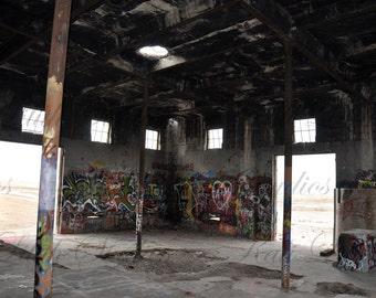 Abandoned Building/Digital Backdrop/Abandoned Warehouse/Digital Background/Grunge Brick Wall/Graffiti Wall/Background Stock/Instant Download