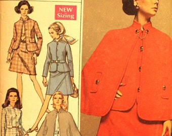 UNCUT Skirt Suit and Cape Size 16 Bust 38 Simplicity 8037 Vintage Sewing Pattern