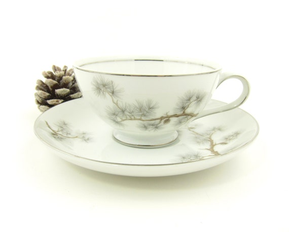 Items similar to Pine Cone Tea Cup Saucer Set Vintage Fashion Manor ...