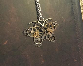 Steampunk mechanical butterflies necklace