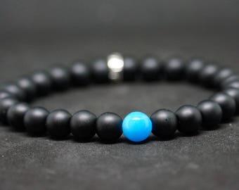 "Bracelet set Simply the ""BlueCk"" matte Onyx and blue Jade Beads"