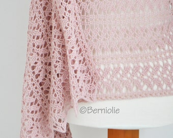 Crochet shawl, lace, pink, with beads,  R639