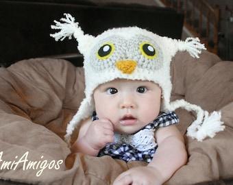 Crochet Fuzzy White Owl Hat (3-6m)