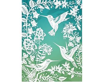 Hummingbirds - 5x7 Art Print - Original Papercut Illustration