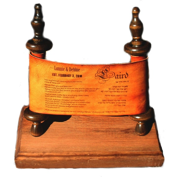 Sonshine Leather Custom  Scroll and Hand Crafted Wooden Stand