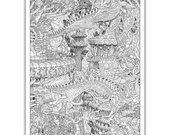 "The Stormfish of Sool - GIANT 27""x 38"" Wildergorn Colour-In Poster"