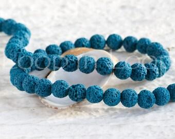 25%OFF Turquoise Lava rock Stone Beads, 6mm Round diffuser bead Natural Semi Precious Organic Volcano Chakra Healing gemstone dyed pumice