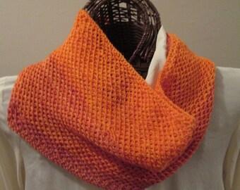 Vivid Orange Hand-knit Textured Cowl