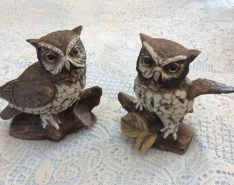Homco ceramic owl figurines