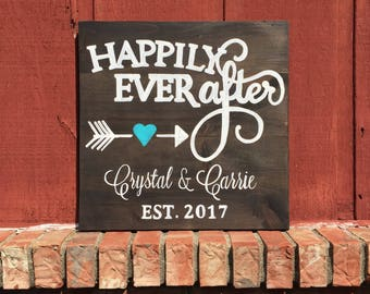 Happily Ever After Wedding date and name sign