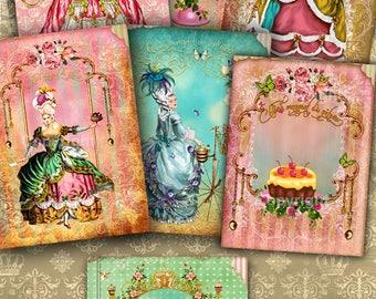 Images digitales - Images pour cadres - Images à imprimer - Scrapbooking, Cartes - Marie-Antoinette - Shabby Chic - Images victorienne