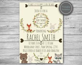Woodland animal baby shower invitation, woodland baby shower, woodland invitation, rustic baby shower invitation, forest baby shower