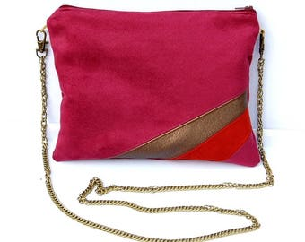 Wedding clutch evening bag fucshia suede shoulder bag, terracotta and Golden graphic lines - after the beach