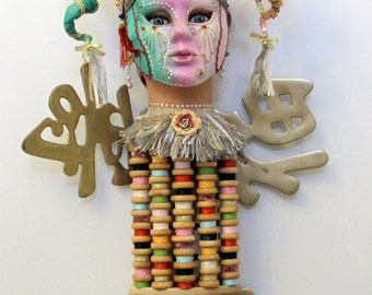 SOLD! Just Off Exhibit I AM HORNY recycled Found object sculpture