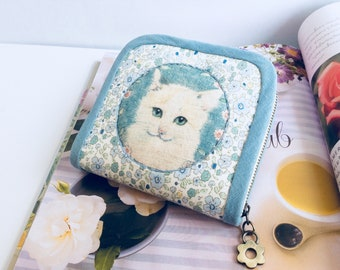Wallet for women, Short wallet, Cat wallet, Handmade fabric wallet, Blue wallet, White cat coin purse, Zipper wallet, Gifts for her