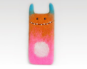 Pink orange Samsung Galaxy S6 case , Monster case, Android case, Felt phone case, Eco-friendly, Ready to ship, Birthday gift idea