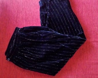 Vintage Clam diggers Lurex Pinstripe Velvet Capris Pedal Pushers Black Gold High Rise Pants Rockabilly Pants VLV W25-26 S to M