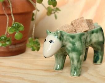 Ceramic Bear Planter Green
