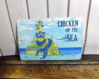 Mermaid Metal Sign Decor Indoor Outdoor Aluminum 8x12 Blue Green Turquoise Ocean Sea