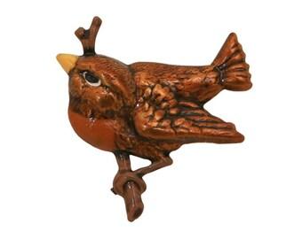 Bird 7/8 inch ( 22 mm ) Susan Clarke Brown Metal Button